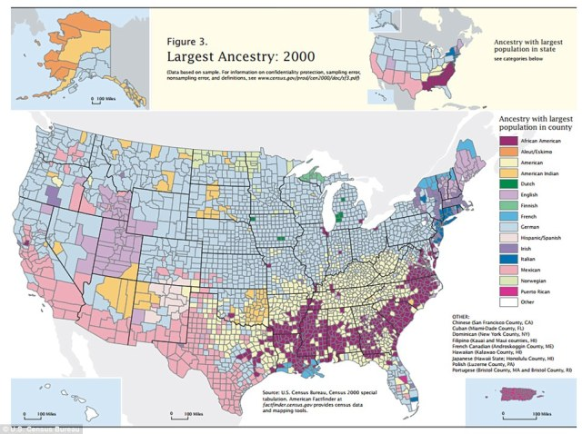 Ethnic Origins of US Counties Daily Mail