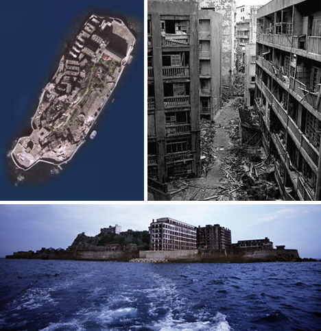Hashima, Japan,  A coal town abandoned after production declined http://weburbanist.com/2008/10/19/ghost-town-abandoned-city-examples-images/3-hashima-japan-abandoned-island1/