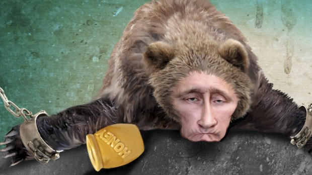 By His Own Shackles Bound http://www.theage.com.au/comment/plummeting-oil-price-leaves-russias-warrior-czar-vladimir-putin-on-thin-ice-20141222-12c4dj.html