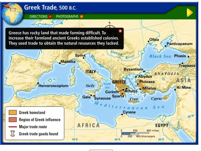 Golden Age of Greece Facilitated by Trade Between Colonies 500 BC