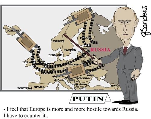 "A Disingenuous ""Feeling"" of Threat http://www.toonpool.com/cartoons/Putin%20Europe%20invasion%20en_220662"