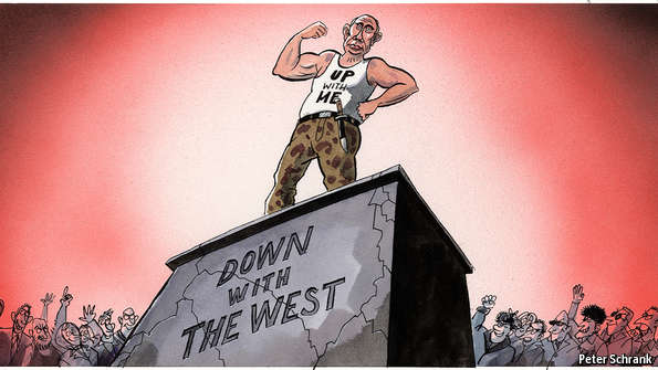 Posing on the Pedestal http://www.economist.com/news/europe/21648678-russias-president-trapped-his-own-strident-anti-western-rhetoric-how-vladimir-putin-tries