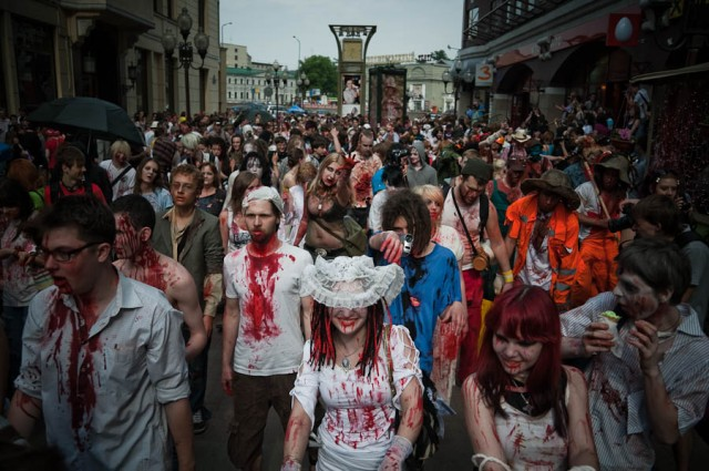 It's Zombie Time in Moscow http://mydisguises.com/2010/05/18/awesome-photos-from-moscow-zombie-walk/