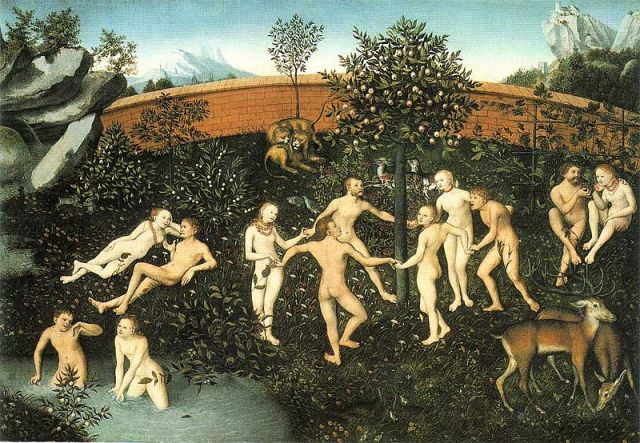The Golden Age by Lucas Cranach the Elder https://en.wikipedia.org/wiki/File:Goldenes-Zeitalter-1530-2.jpg