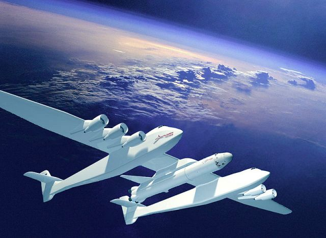 Burt Rutan's Stratolaunch http://flightclub.jalopnik.com/why-motherships-are-making-a-big-comeback-for-sending-t-1724486569?
