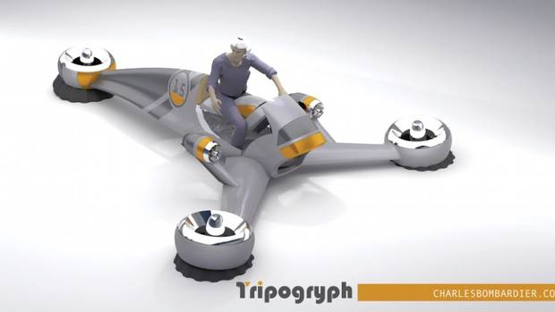 Triptogryph Ground Effect Hovercycle http://www.theglobeandmail.com/globe-drive/culture/technology/its-like-a-three-wheeled-motorcycle-but-would-be-able-to-fly/article25225032/#