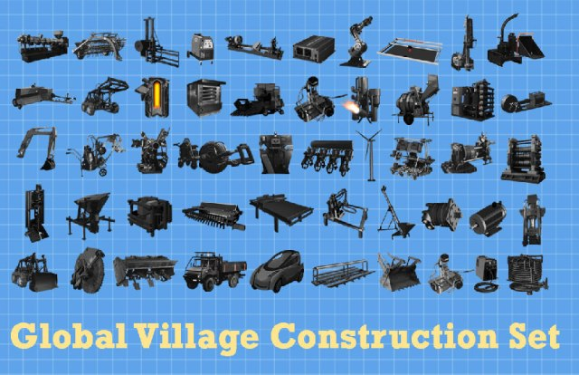 Global Village Construction Set -- 50 Machines to Reboot Civilisation http://opensourceecology.org/gvcs/
