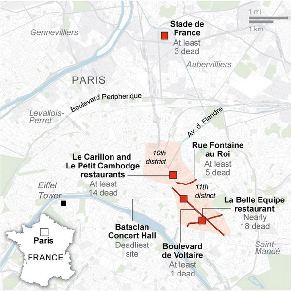 Map of Attacks in Paris 13 Nov 2015 http://www.theguardian.com/world/live/2015/nov/14/paris-terror-attacks-attackers-dead-mass-killing-live-updates