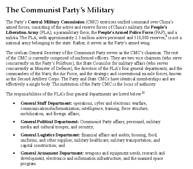 Communist Party Owns the Military https://www.fas.org/sgp/crs/row/R43303.pdf