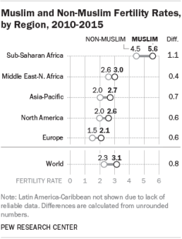 Muslims: Young and Breeding http://www.pewresearch.org/fact-tank/2015/04/23/why-muslims-are-the-worlds-fastest-growing-religious-group/ft_15-04-23_muslimfertility/