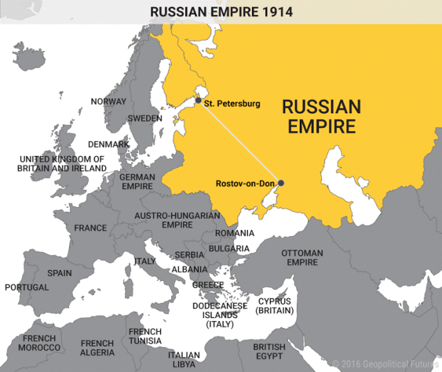 Russian Empire 1914 https://geopoliticalfutures.com/russias-ongoing-predicament/