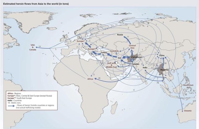 Heroin Flows Global  UNODC