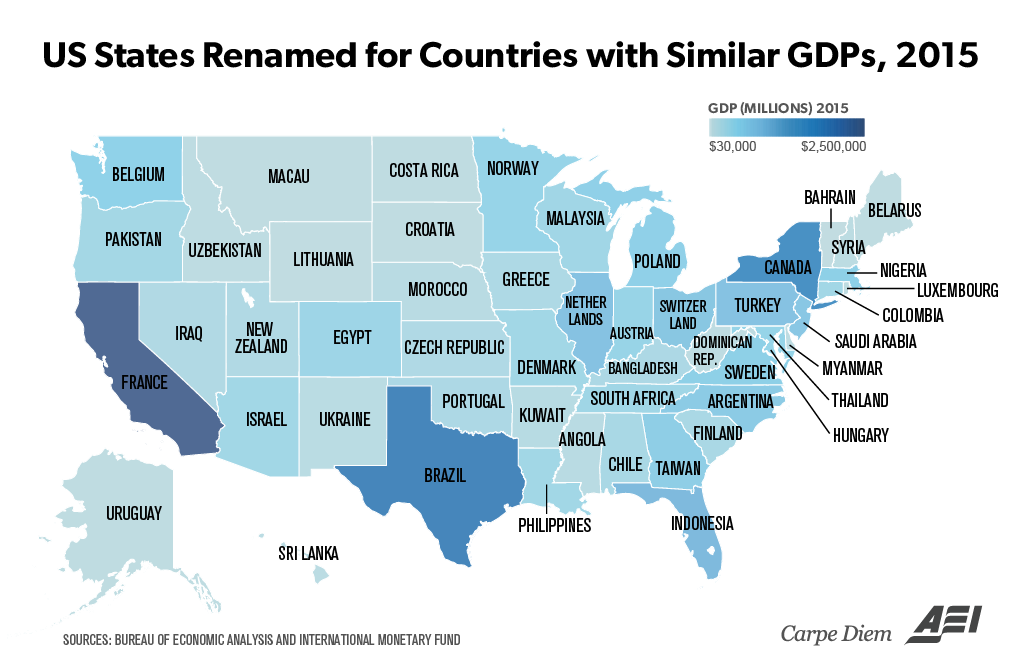 US States Vs Rest Of World States W Larger Economies Than - Us gdp concentration map