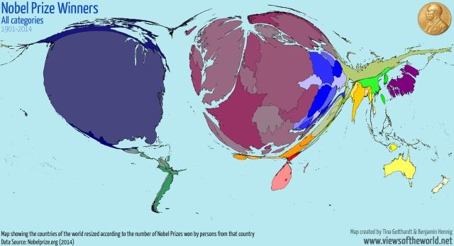 Nobel Prize Cartogram source