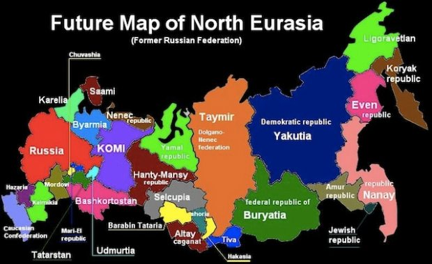 Future Map of the Former Russian Empire Azeri Daily