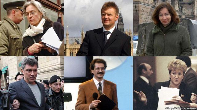 Clockwise L to R: anna-politkovskaya-aleksandr-litvinenko-natalya-estimirova-galina-starovoitova-vladislav-listyev-boris-nemtsov RFERL.org