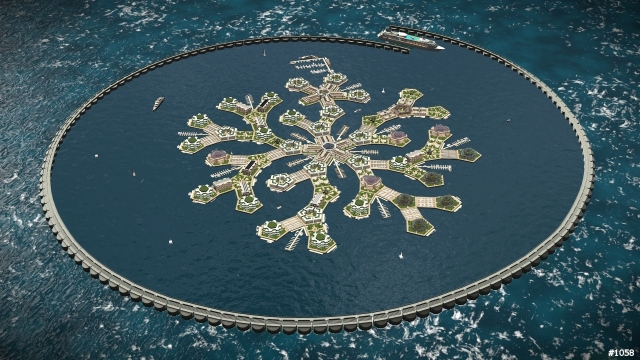 Snowflake Seastead w/ Breakwater Source