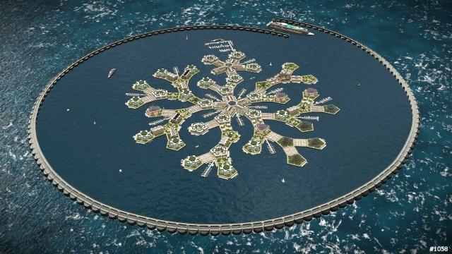 Snowflake Seastead w/ Breakwater Source