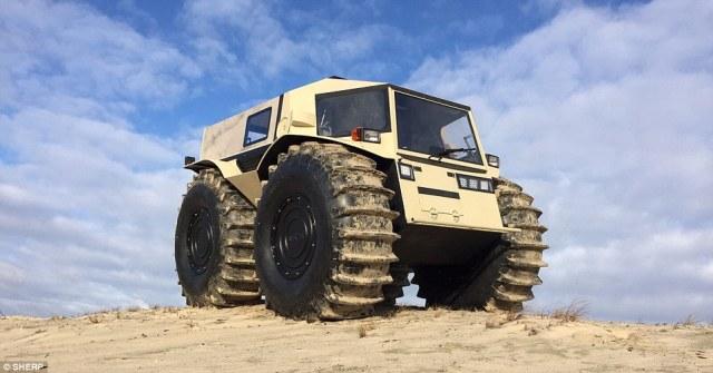 St. Petersburg Sherp ATV http://www.dailymail.co.uk/sciencetech/article-3439580/The-bizarre-mini-monster-truck-Russian-designer-reveals-65k-roader-s-just-11-feet-long.html